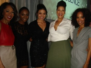 "L to R. Sparkle cast and Crew producer, Debra Martin Chase, Taki Sumpter, Jordin Sparks, Tracy ""Twinkie"" Byrd, co-producer Mara Brock Akil."