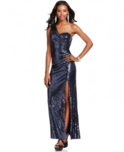 Xscape Dress- Sleeveless One-Shoulder Sequin Gown