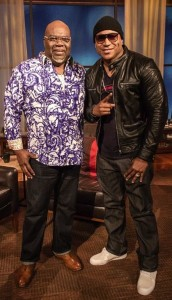 "T.D. Jakes chats with hip hop superstar and actor L.L. Cool J on the set of his new series ""T.D. Jakes Presents: Mind, Body, & Soul."""