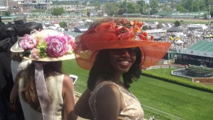 Sonya Jenkins, Publisher & Editor of Sonya's Spotlight Web Mag, enjoying a view from one of the top levels at Churchill Downs during The Kentucky Derby 2015.
