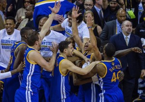 The Golden State Warriors won Game 6 of the NBA Finals 105-97 over the Cleveland Cavaliers to clinch the franchise's first NBA title since 1975. John W. McDonough for Sports Illustrated