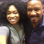 Spelman College junior Lizette Terry poses with Dorien Wilson from Bounce TV's In The Cut