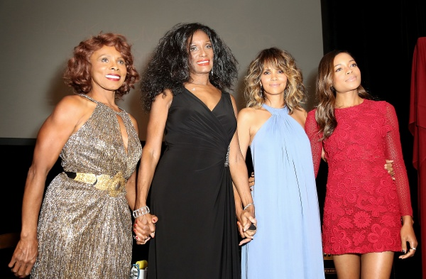 Honorees Gloria Hendry, Trina Parks, Halle Berry, and Naomie Harris speak onstage during the Black Women of Bond Tribute -