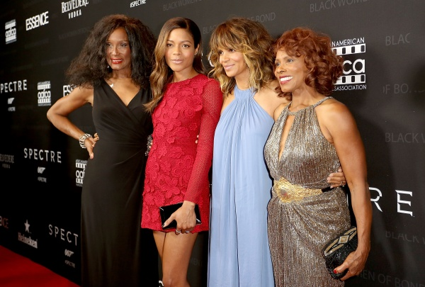 Honorees Trina Parks, Naomie Harris, Halle Berry, and Gloria Hendry attend the Black Women of Bond Tribute at the California African American Museum