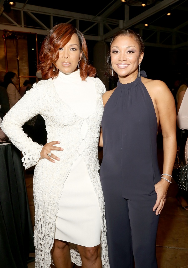 LisaRaye McCoy (L) and singer Chante Moore attend the Black Women of Bond Tribute at the California African American Museum
