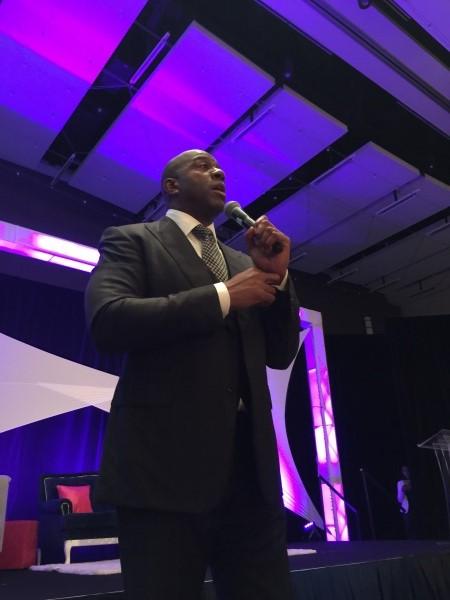 NBA Legend Earvin Magic Johnson motivates attendees