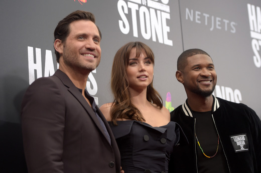 "(L-R) Edgar Ramirez, Ana de Armas and Usher attend the New York Premiere Of ""Hands Of Stone"" in Partnership with DeLeon Tequila, NetJets, The Redbury New York and VisitPanama at SVA Theater on August 22, 2016 in New York City. (Photo by Jason Kempin/Getty Images for The Weinstein Company)"