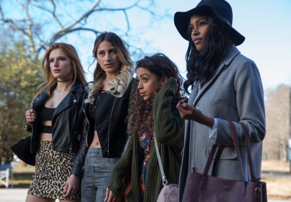 Rain (Bella Thorne, far left), Leah (Lexy Panterra, center left), Aday (Liza Koshy, center right) and Tiffany (Diamond White, far right) in TYLER PERRY'S BOO! A MADEA HALLOWEEN. Photo Credit: Eli Joshua