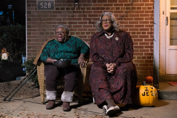 Aunt Bam (Cassi Davis, left) and Madea (Tyler Perry, right) in TYLER PERRY'S BOO! A MADEA HALLOWEEN. Photo Credit: Guy D'Alema