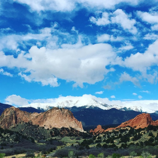 Venturing out to the Garden of the Gods in Colorado Springs Colorado. You can see Pike's Peak in the background. What a lovely day this was.