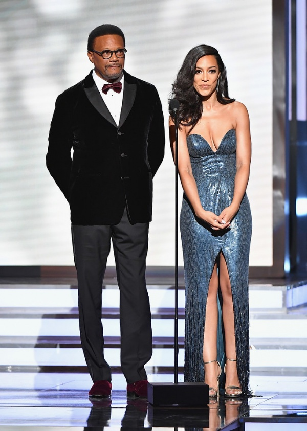 Judge Greg Mathis (L) and Angela Rye onstage