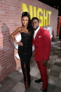Eniko Parrish at the 'Night School' premiere in Los Angeles alongside husband Kevin Hart.