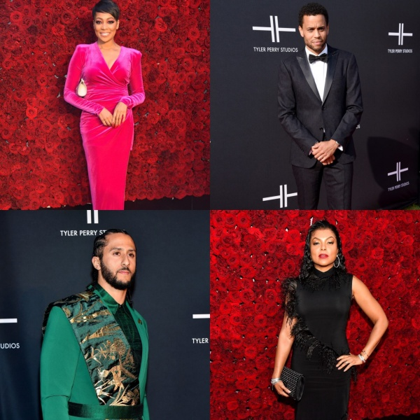 (CLOCKWISE, FROM LEFT) MONICA, MICHAEL EALY, TARAJI P. HENSON AND COLIN KAEPERNICK ATTEND TYLER PERRY STUDIOS GRAND OPENING GALA AT TYLER PERRY STUDIOS ON OCTOBER 05, 2019 IN ATLANTA, GEORGIA. (PHOTO GETTY IMAGES FOR TYLER PERRY STUDIOS)